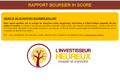 Newsletter quotidienne exclusive dédiée à l'IH Score
